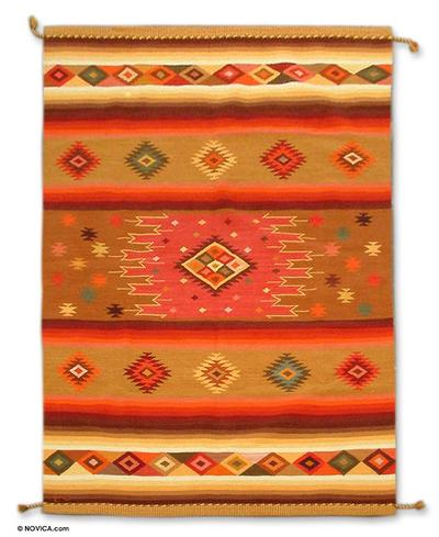 Wool rug, 'Dazzling Stars' (6x8.5) - Geometric Wool Peruvian Area Rug (6x8.5)