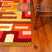Wool rug, 'Labyrinths of Fire' (6x8.5) - Geometric Handcrafted Peruvian Wool Rug
