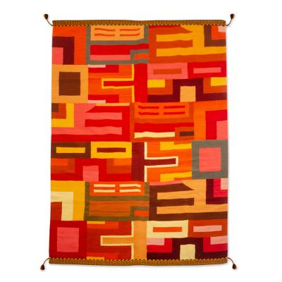 Wool rug, 'Labyrinths of Fire' (6x8.5) - Fair Trade Geometric Wool Area Rug (6x8.5)