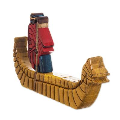 Cedar and mahogany sculpture, 'Reed Boat' - Cedar and Mahogany Folk Art Sculpture