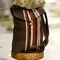 Alpaca shoulder bag, 'Cinnamon Coffee' - Alpaca Wool Shoulder Bag from Peru