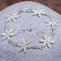 Silver filigree bracelet, 'Citrus Blossoms' - Silver Bracelet with Floral Links