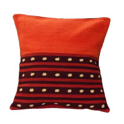 Artisan Crafted Geometric Wool Cushion Cover