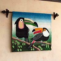 Wool tapestry, 'Two Toucans' - Hand Made Wool Tapestry from Peru