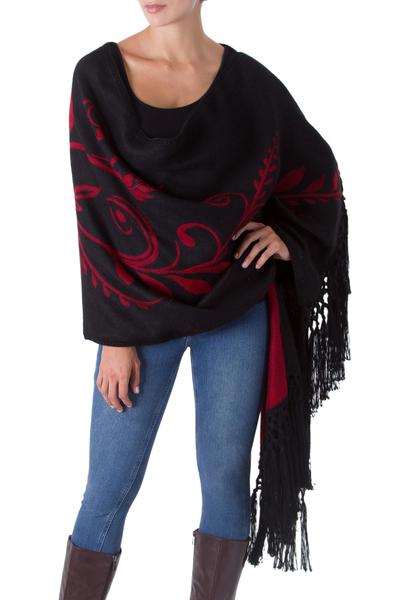 Alpaca blend shawl, 'Crimson Harvest' - Artisan Crafted Alpaca Wool Reversible Shawl