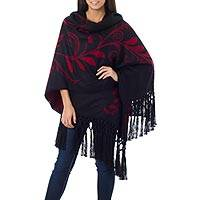 Alpaca blend ruana cloak, 'Crimson Splendor' - Collectible Floral Alpaca Wool Wrap Ruana