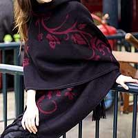 Alpaca blend shawl, 'Cherry Blossom'