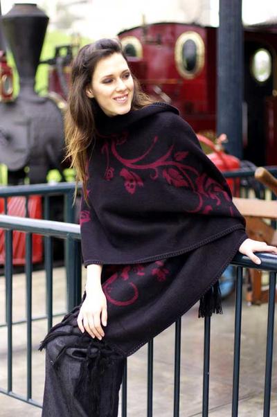 Alpaca blend shawl, 'Cherry Blossom' - Hand Crafted Floral Alpaca Wool Blend Shawl