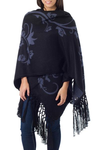Alpaca blend shawl, 'Eternal Sky' - Reversible Alpaca Wool Shawl
