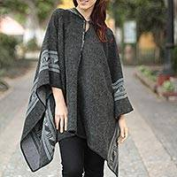 Reversible alpaca blend poncho, 'Legacy' - Reversible Women's Hooded Poncho in Alpaca Grey