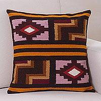 Wool cushion cover, 'Ancient Geometry'