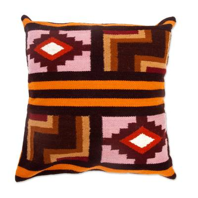 Wool cushion cover, 'Ancient Geometry' - Wool cushion cover