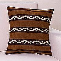 Wool cushion cover, 'Seeds' - Wool cushion cover
