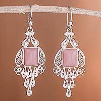 Rose quartz chandelier earrings, 'Pink Tulip'