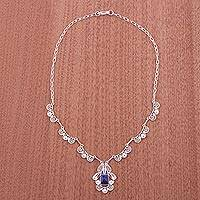 Sodalite filigree necklace, 'Spring Sky' - Sodalite filigree necklace
