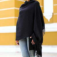 100% alpaca shawl, 'Enchanted Ebony' - Womens Alpaca Wool Shawl from Peru