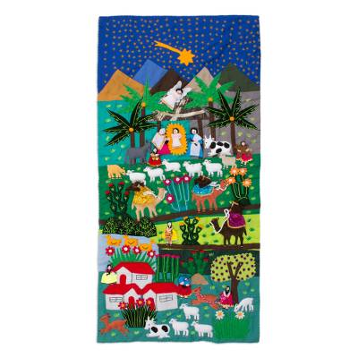 Applique wall hanging, 'Nativity Scene' - Hand Crafted Religious Applique Tapestry Wall Hanging