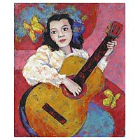 'Having Fun' - Girl with Guitar Original Fine Art Oil Painting Peru
