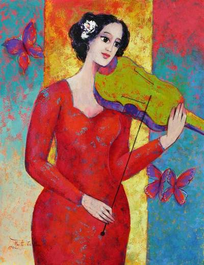 'Allegro with Violin' - Original Fine Art Oil Painting Peru