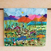 Applique wall hanging, 'Highland Harvest' - Applique wall hanging