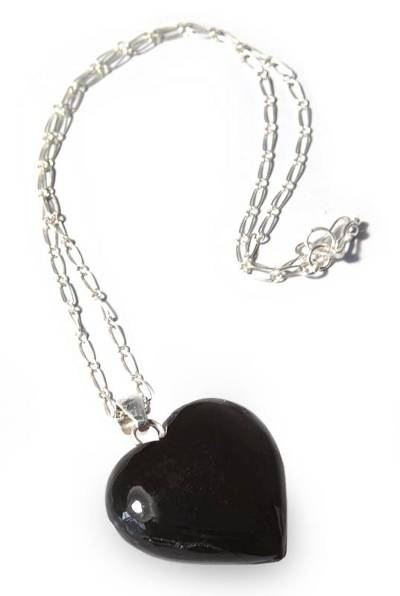 Heart Shaped Pendant Obsidian Necklace