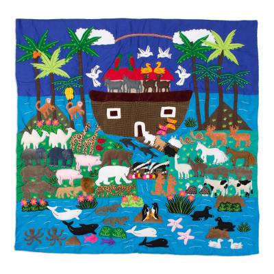 Applique wall hanging, 'Noah and His Ark' - Folk Art Patchwork Appliqué Cotton Wall Hanging