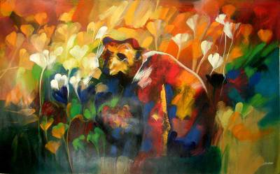 Bear with Flowers Abstract Painting Peru Fine Art