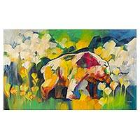 'Ecosystem of the Bear II' (2008) - Bear In A Meadow Abstract Painting Peru Fine Art (2008)