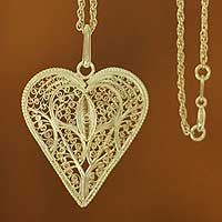 Gold plated heart necklace, 'Filigree Heart'