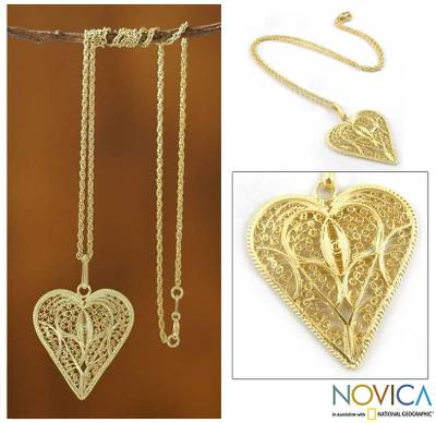 Gold plated heart necklace, 'Filigree Heart' - Handcrafted Heart Shaped Gold Plated Filigree Necklace