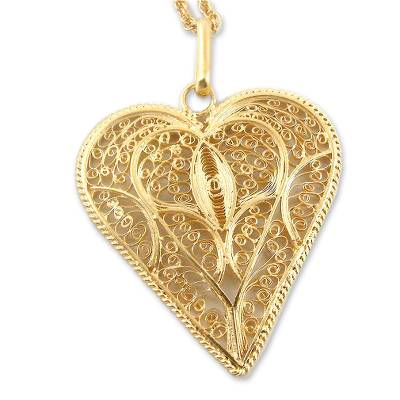 Handcrafted Heart Shaped Gold Plated Filigree Necklace