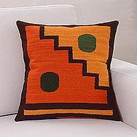 Wool cushion cover, 'Sun and Moon' - Geometric Wool Cushion Cover