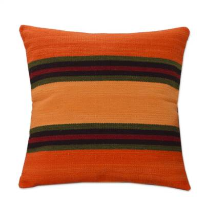 Wool cushion cover, 'Three Worlds' - Wool Cushion Cover Orange Stripe 18 In Handmade Peru