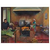 'With the Flavor of Wood Smoke' - Wood Fired Stove Original Oil Painting Peru Fine Art