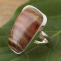 Onyx cocktail ring, 'Caramel Pyramid' - Onyx cocktail ring