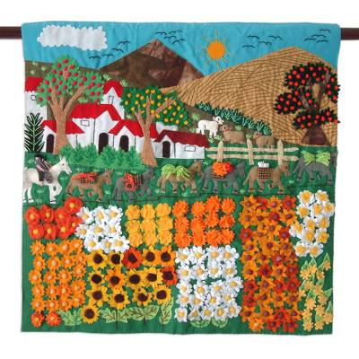 Applique wall hanging, Sunflower Farm