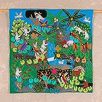 Applique wall hanging, 'Jungle Friends' - Applique Wall Hanging Folk Art Handmade in Peru