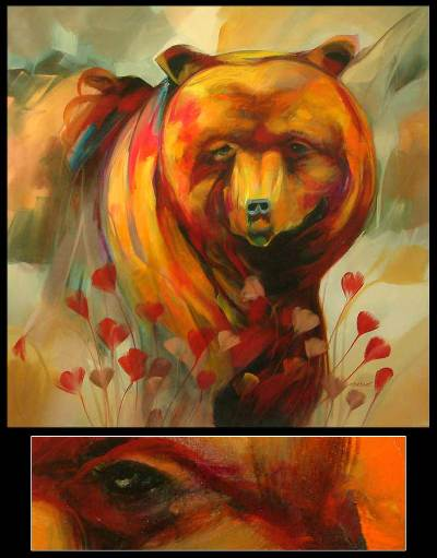 'The Bear Affection' (2008) - Peruvian Impressionist Painting (2008)