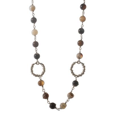 Agate and onyx strand necklace, 'Full Moon' - Agate and onyx strand necklace