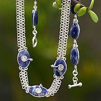 Sodalite choker, 'Blue Sea Waves' - Sodalite choker