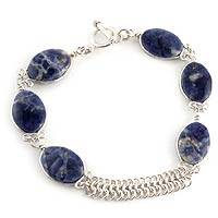 Sodalite beaded bracelet, 'Blue Sea Waves' - Sodalite Fine Silver Link Bracelet