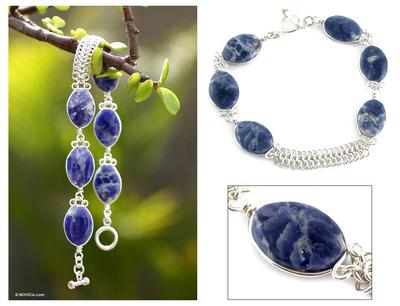 Sodalite beaded bracelet, 'Blue Sea Waves' - Collectible Fine Silver Link Sodalite Bracelet