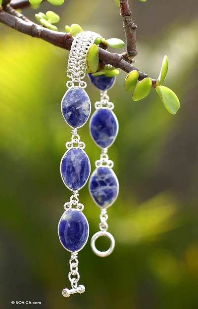 Sodalite beaded bracelet, 'Blue Sea Waves' - Collectible Fine Silver Link Sodalite Bracelet