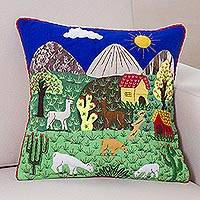 Applique cushion cover, 'Andean Meadow' - Applique cushion cover