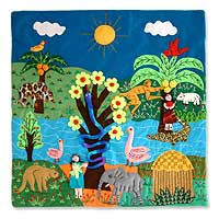 Applique wall hanging, 'Amazon' - Handcrafted Folk Art Applique Wall Hanging