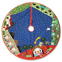 Applique tree skirt, 'Holy Family in the Andes'