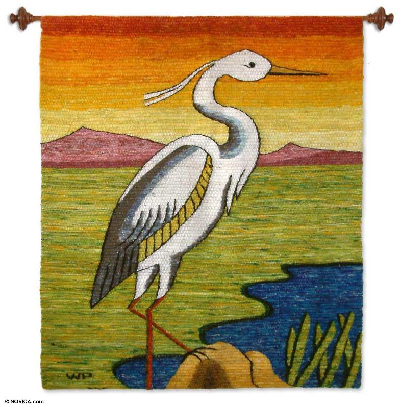 Handmade Wool Bird Tapestry - Peruvian Heron   NOVICA