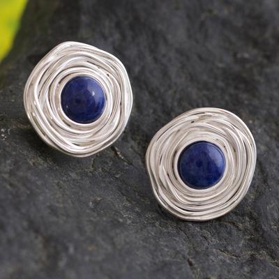 Sodalite button earrings, 'Blue Rosebud' - Silver Sodalite Button Earrings