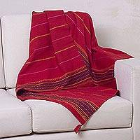 Alpaca blend throw blanket, 'Red Butterfly' - Alpaca Wool Blend Red Throw Blanket