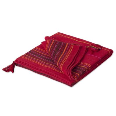 Alpaca Wool Blend Red Throw Blanket